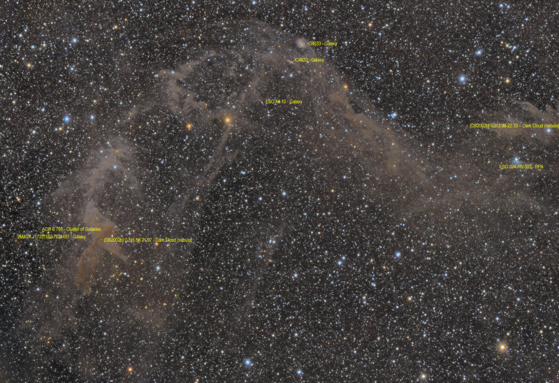 Jacobs Ladder - IC4633, IC4635 and IFN in Apus (also Sarahs Nebula) - Annotated Version