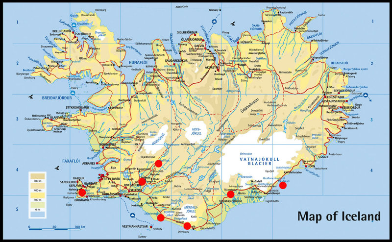 Iceland map - red dots are our photospots