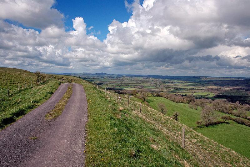Climbing up Eggardon Hill, near Powerstock