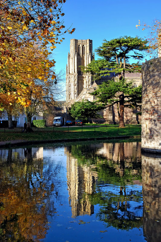 Moat, cedar and reflection, Wells