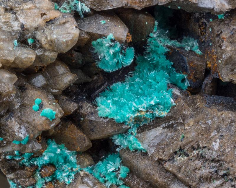 Aurichalcite on 9 cm matrix of calcite crystals, Wetgrooves Mine, Askrigg, Wensleydale, N Yorkshire.