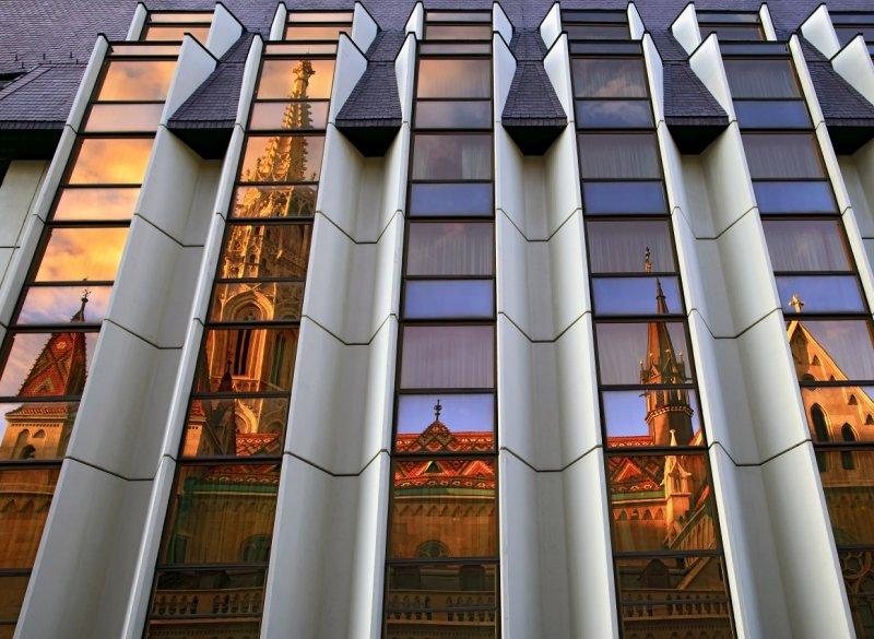 Matthias Church (Mátyás-templom) reflected