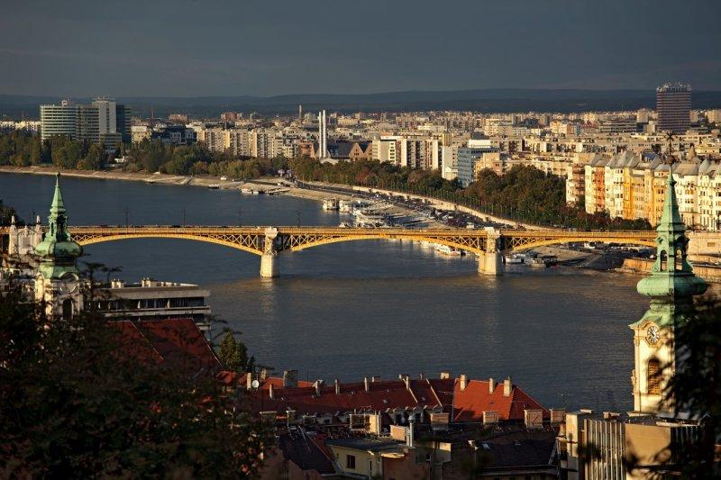 Danube river and Margaret Bridge (Margit híd)