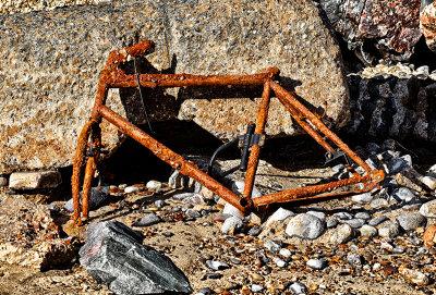 Old Bike on the beach at Happisburgh