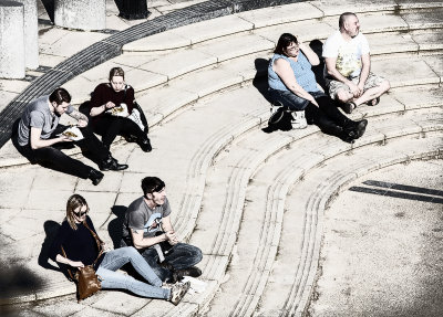 Bleached out in the Sun (eating fish and chips at Cromer Pier)