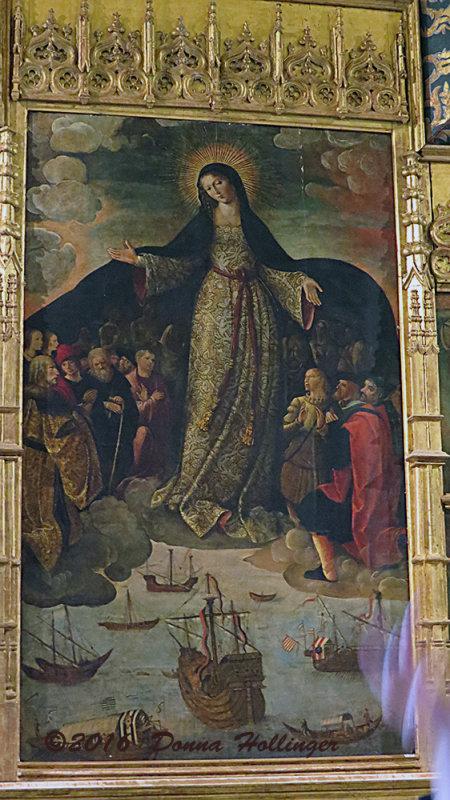 The Virgin Blessing Columbus  Ships leaving Seville