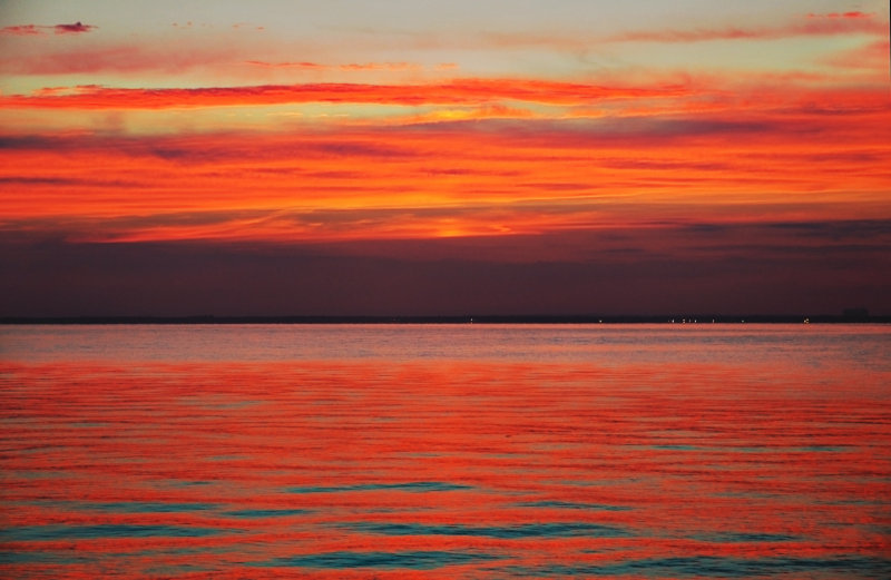 sunset over the Great South Bay