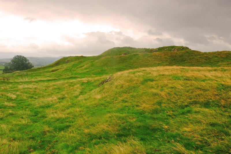 Cefn-llys castle 1 , view across the motte .