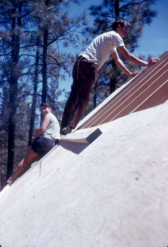 1974 Really steep roof. Cabin in Pinetop. Shirley and Johnny