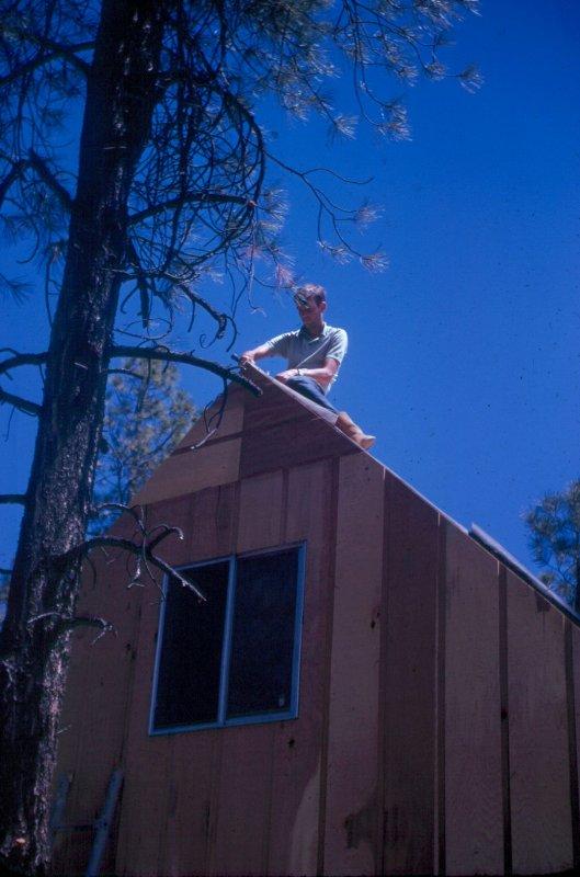 1974 Johnny working on peak. Cabin in Pinetop