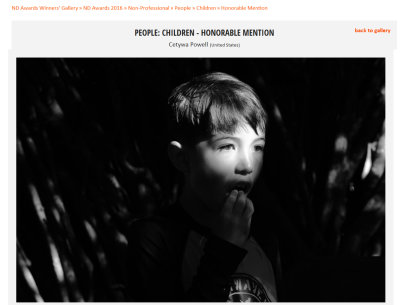 2016 ND Photography Awards - Honorable Mention