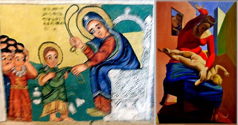 A painting in Azwa Mariam monastery,  Ethiopia,  resembles M. Ernsts: The Virgin Spanking the Christ Child before 3 Witnesses