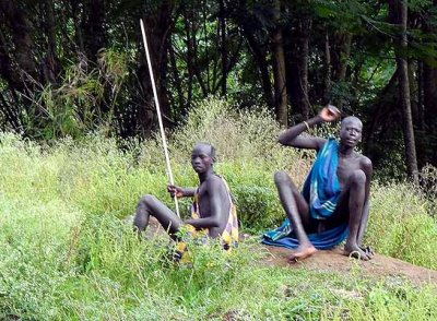 Surma men;  south-western Ethiopia.