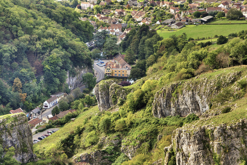 A view of Cheddar from on top of the Gorge