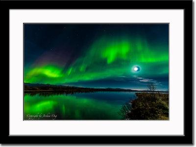 Aurora Borealis and Half-Moon