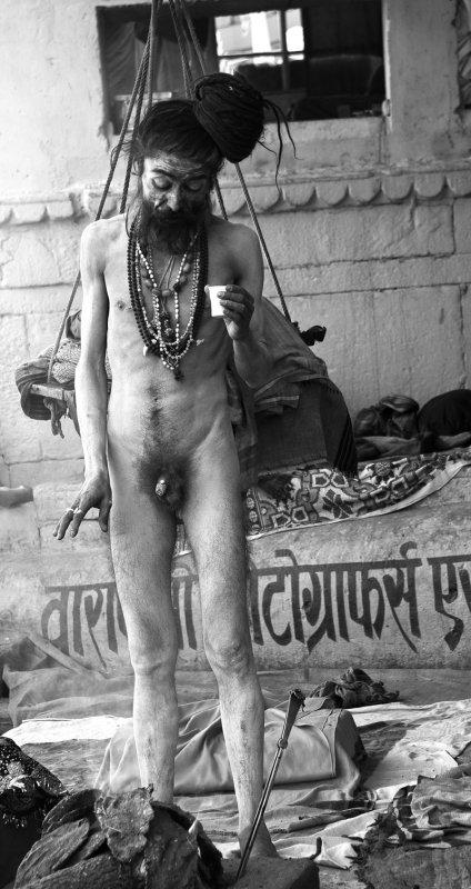 Varanasi Naga Sadhu fire bw.jpg