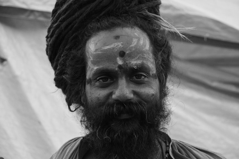A sadhu in front of yellow 1 bw.jpg