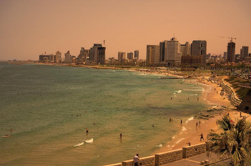 Setting Sun on Tel Aviv  Beach from the Old City of Jaffa