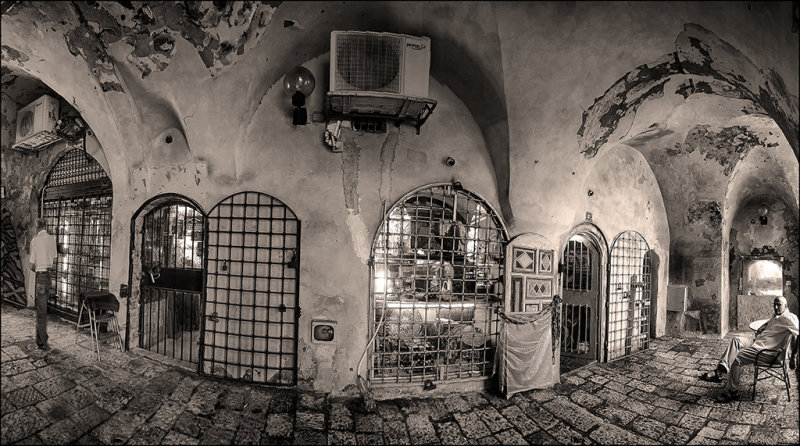 Panorama of some shops in the old city