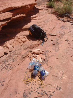 Water bottles tied together for the hike out