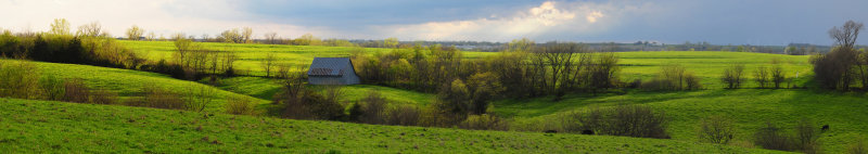 Spring View of Barn and Countryside (WIDE PANO)