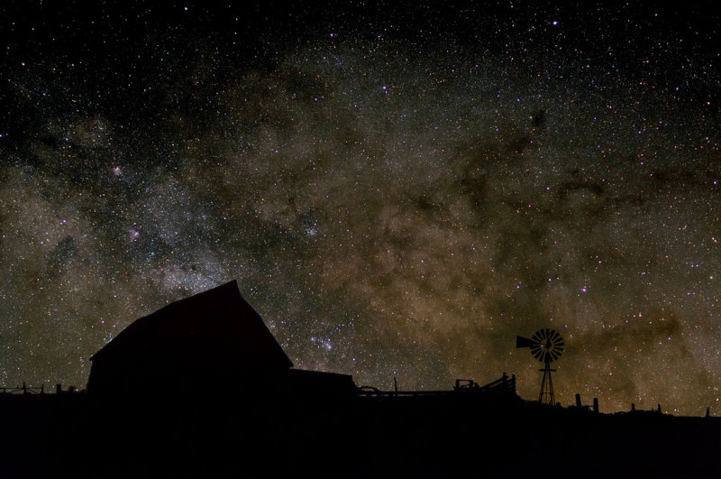 Milky Way with Old Barn (Composite)