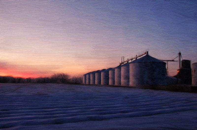 Grain Bins Cold Sunset Reflection