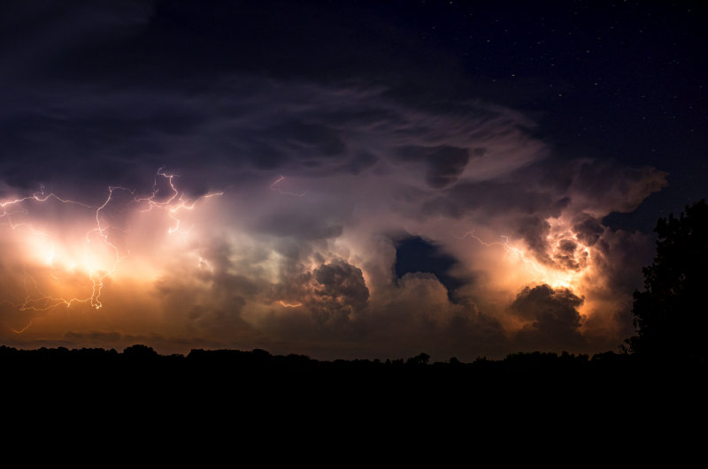 Lightning Show with Stars