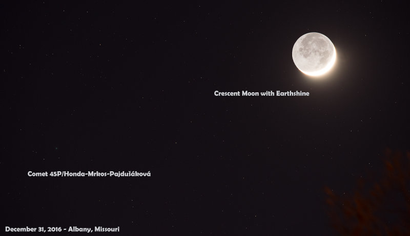 Comet 45P/Honda-Mrkos-Pajdušáková with Crescent Moon and Earthshine