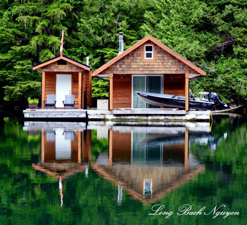 cabins, Julia Passage,  Alma Island,  Vancouver Island,  Canada