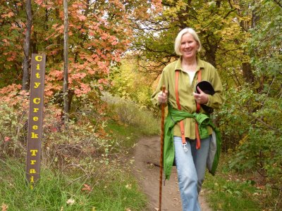 Susanne Forrest hiking City Creek Trail P1000530 Modified in GIMP Image Editor.JPG