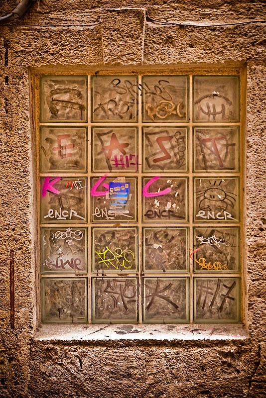 Graffiti covered window