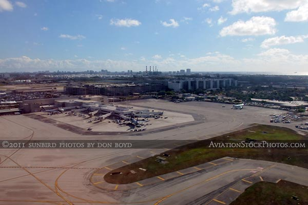 2011 - Ft. Lauderdale-Hollywood International Airport viewed from a runway 13 takeoff aerial stock photo