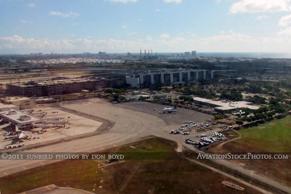 2011 - Ft. Lauderdale-Hollywood International Airport viewed from runway 13 takeoff aerial stock photo