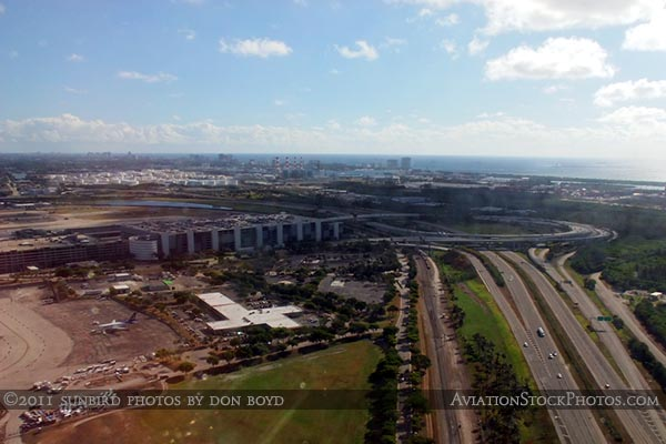 2011 - the east side of Ft. Lauderdale-Hollywood International Airport aerial stock photo