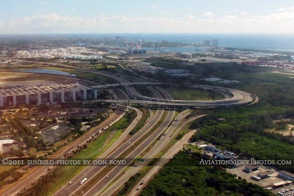 2011 - US 1 and the main entrance to Ft. Lauderdale-Hollywood International Airport aerial landscape stock photo