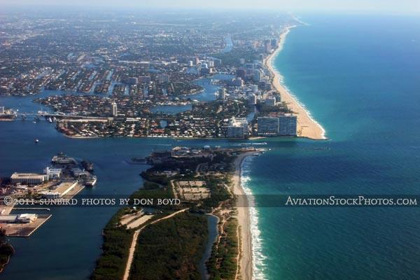 2011 - John U. Lloyd State Park and Port Everglades Inlet landscape aerial stock photo
