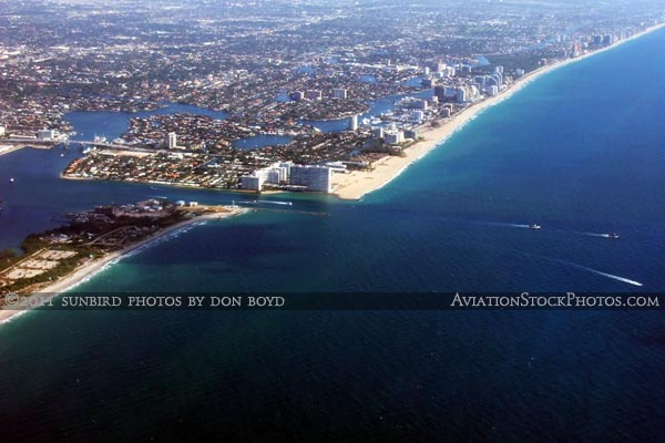 2011 - Port Everglades Inlet and Ft. Lauderdale beaches landscape aviation stock photo