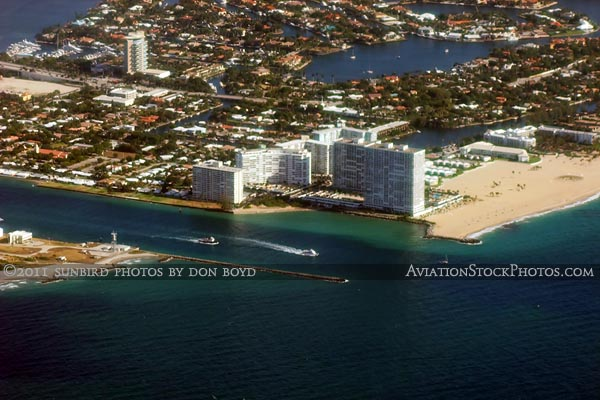 2011 - Port Everglades Inlet and the southern end of Ft. Lauderdale beaches landscape aerial stock photo