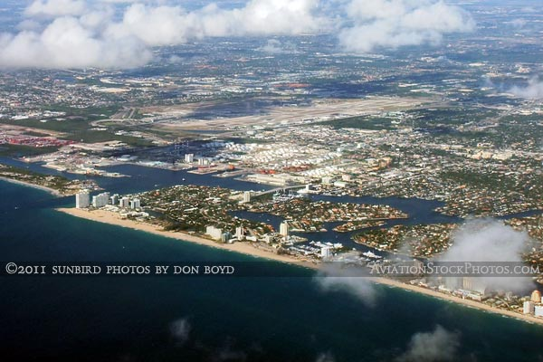 2011 - Ft. Lauderdale beaches, Port Everglades and Ft. Lauderdale-Hollywood International Airport aerial stock photo
