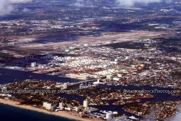 2011 - Port Everglades and Ft. Lauderdale-Hollywood International Airport landscape aerial stock photo