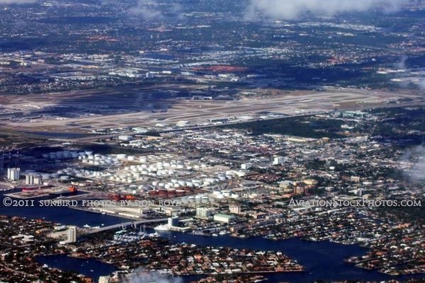 2011 - Tank farm at Port Everglades and Ft. Lauderdale-Hollywood International Airport landscape aerial stock photo