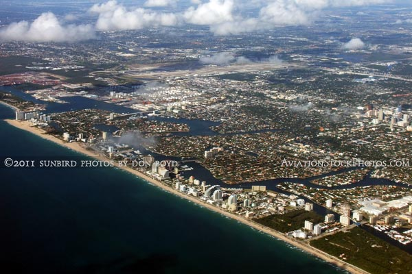 2011 - the coastline of Ft. Lauderdale with Ft. Lauderdale-Hollywood International Airport in the background aerial stock photo
