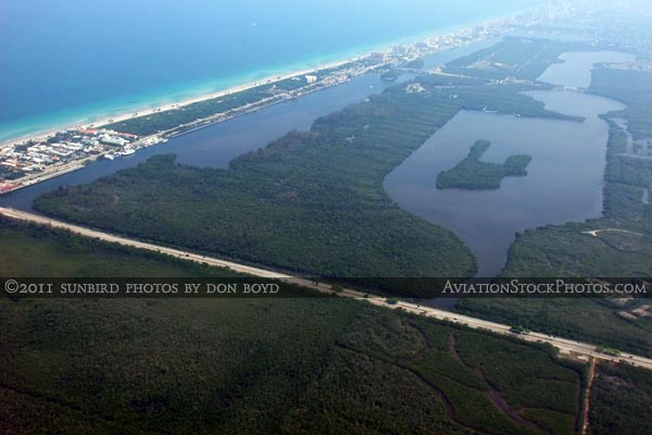 2011 - Dania Beach Boulevard, West Lake Park and West Lake landscape aerial stock photo