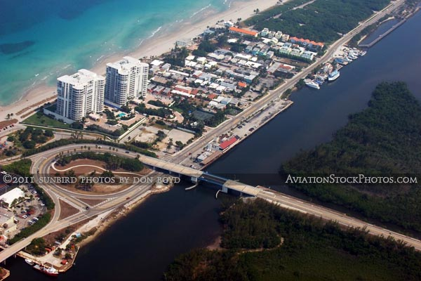 2011 - East Dania Beach Boulevard and A1A in Dania Beach landscape aerial stock photo
