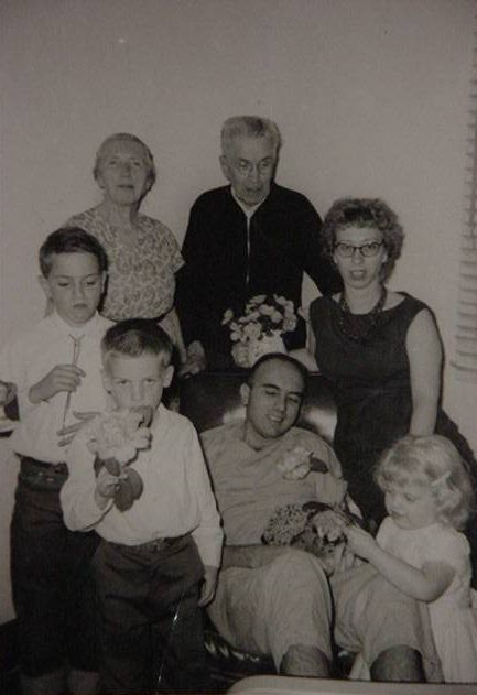 family in early 60s visiting dad at the VA hospital