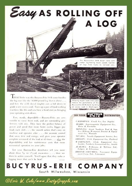 1948 Bucyrus Ad Rolling Off a Log