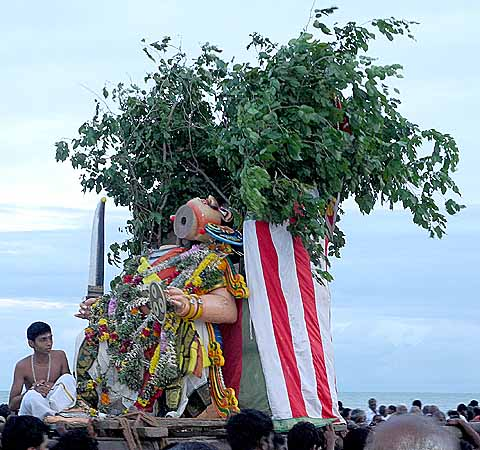Lord Subramanyam [Murugan] defeats Surapadman and the demon is beheaded. Skanda Sashti at Tiruchendur.