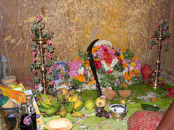 The diviner`s altar for Lord Murugan in Tirunelveli, Tamil Nadu.