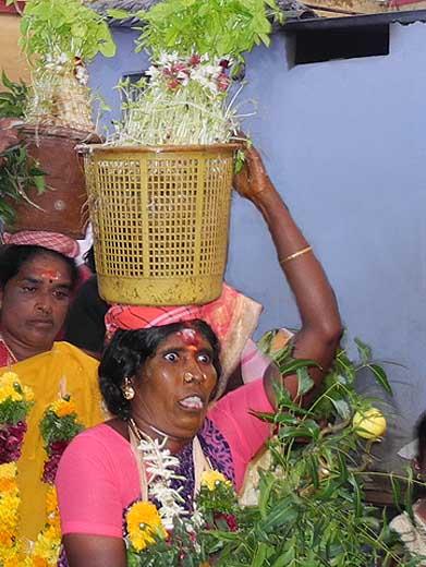 Woman in a trance at Mulaipari festival at Koovathupatti Tamil Nadu. http://www.blurb.com/books/3782738